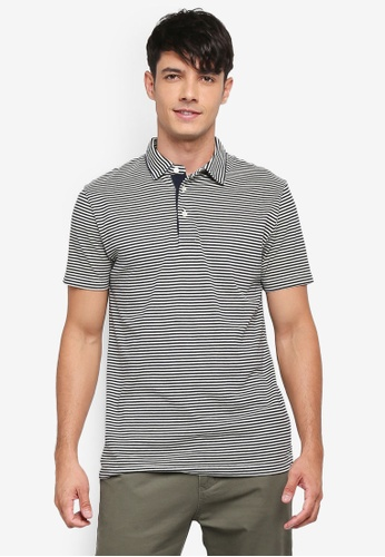 French Connection grey and white Garment Dye Mini Stripe Polo Shirt F952AAA709AE06GS_1