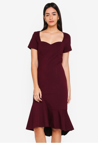 MDSCollections red Aubrey Bodycon Dress In Oxblood 5A9B7AA2846BD5GS_1