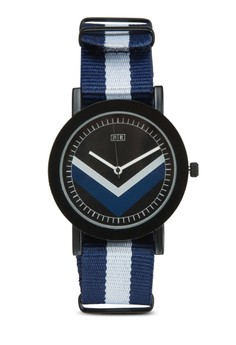 Tri Stripe Printed Canvas Strap Watch