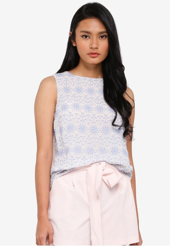 Dorothy Perkins blue Blue Cutwork Lace Top 29C5DAA6A8C171GS_1