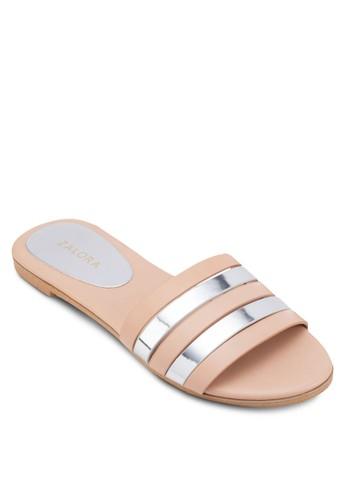 金屬感條紋寬帶拖鞋涼鞋、 女鞋、 鞋ZALORA金屬感條紋寬帶拖鞋涼鞋最新折價
