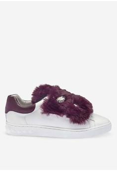 Panda - 白色皮草運動鞋