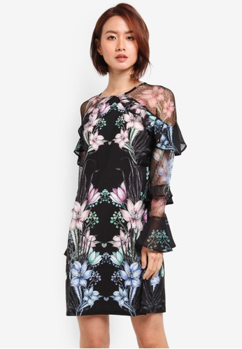 Lipsy multi CX Illustrated Black Floral Ruffle Sleeve Shift Dress 9FF82AA340C1FDGS_1