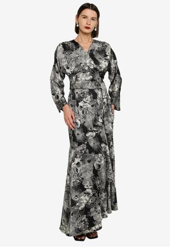 Zalia 黑色 Flounce Belted Wrap Dress 409DBAACF99AC0GS_1
