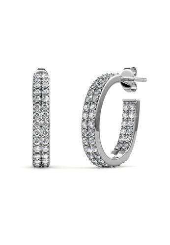 Her Jewellery silver Luxx Hoop Earrings - Licensed Genuine Crystals from Swarovski® HE581AC0RVSFMY_1