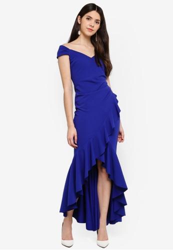 Goddiva blue High Low Frill Hem Maxi Dress CEFA9AA79111A9GS_1