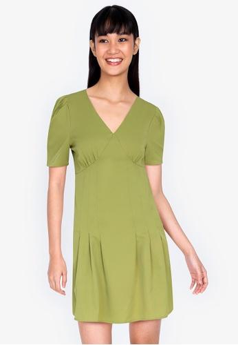 ZALORA BASICS green Puff Sleeve V Neck Mini Dress 7867CAA91466E0GS_1
