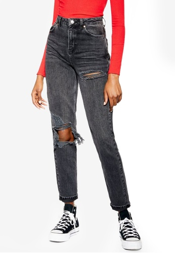 reasonable price real quality discount Wash Black Willow Rip Mom Jeans