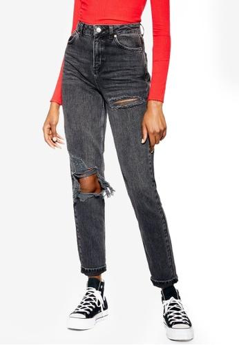 b5fb62e07 Buy TOPSHOP Wash Black Willow Rip Mom Jeans Online | ZALORA Malaysia