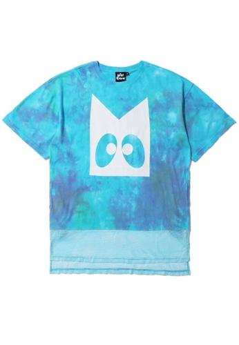 Mini cream blue Tie dye mesh hem tee F8177AA4C7783FGS_1
