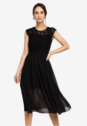 Hopeshow black Slim Waist Lace Midi Dress with Mesh Hem 7AB13AA11E4D88GS_1