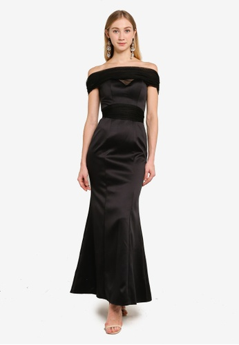 Goddiva black Boob Tube Tulle Neck Maxi Dress 82C5BAAA74CDC0GS_1
