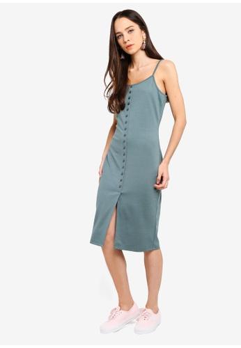 222094b9f650 Something Borrowed green Button Trim Cami Midi Dress 0CB5EAAA054162GS 1