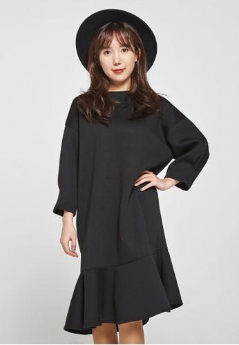 韓流時尚 不平衡喇叭筒氯丁橡膠連衣裙 F4055, 服esprit門市地址飾, 洋裝