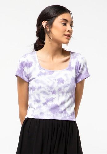 COLORBOX purple Tie-Die Square Neck T-Shirt 093E9AA5080EB6GS_1