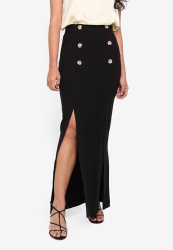 Miss Selfridge black Black Contrast Maxi Skirt 542F8AAC7A3A2CGS_1