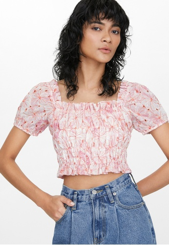 Pomelo pink Floral Stitch Smocked Top - Pink 37EB2AA640BA32GS_1