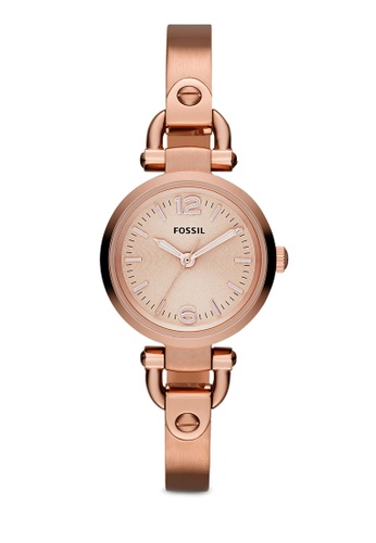 Fossil pink and gold Rose Gold/Pink Georgia Mini Three Hand Stainless Steel Watch ES3268 FO164AC63ZQIMY_1