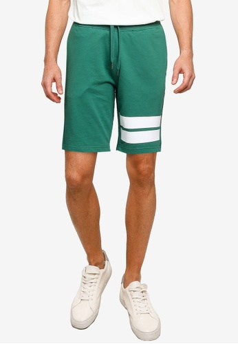 Only & Sons green Stripe Sweat Shorts 51FB6AA892569EGS_1