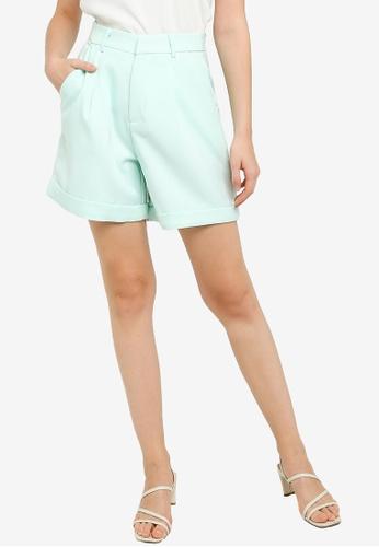 ZALORA WORK 綠色 High Waist Shorts 8E455AAF091536GS_1