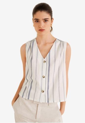 MANGO navy Striped Cotton-Blend Top 65F0CAAB8D9BA2GS_1