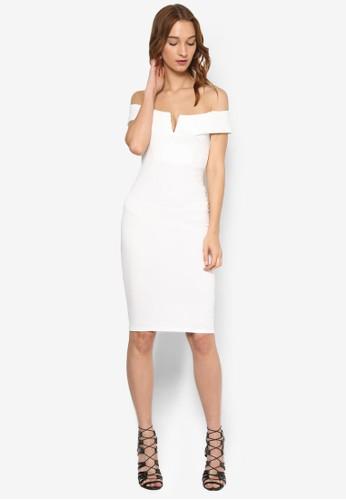 V 字平口露肩領及膝zalora鞋子評價連身裙, 服飾, 洋裝