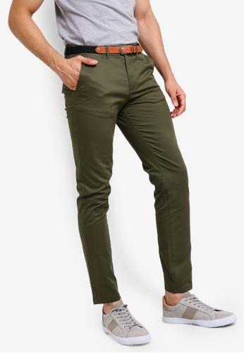 Selected Homme 綠色 腰帶休閒褲 7C156AA24778D0GS_1