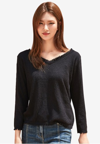 NAIN navy Long Sleeve Top With Trimmings 8E19EAAF052372GS_1
