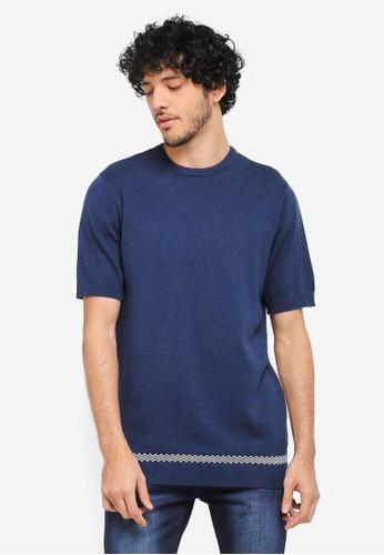 ZALORA blue and navy Short Sleeve Knit Jumper 5CD64AA7F5858DGS_1