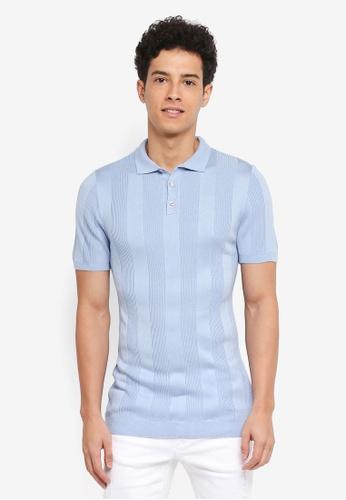 River Island blue Short Sleeve Lockie Rib Polo Shirt CEFA4AA1A06E6FGS_1