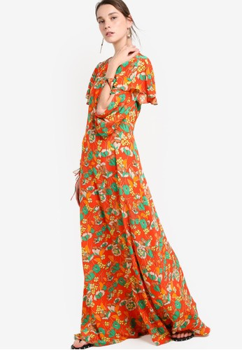 Mango orange Silk Flower Dress MA533AA17DDYID_1