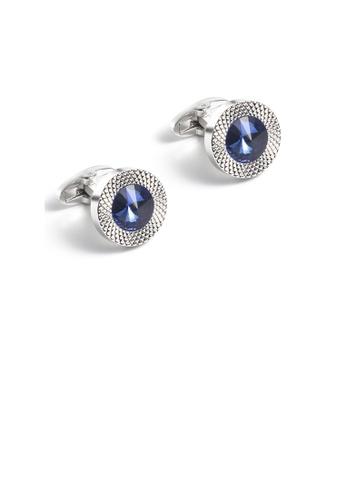 Glamorousky blue Fashion Temperament Geometric Circular Pattern Blue Cubic Zirconia Cufflinks 0B698ACADB2A43GS_1