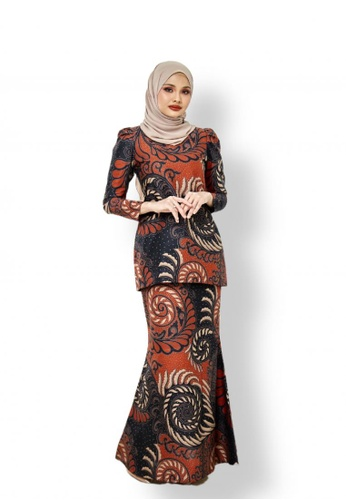 ROSSA COLLECTIONS black and brown and beige Batik Indah in Orange for Lady 11E1DAA32845ABGS_1