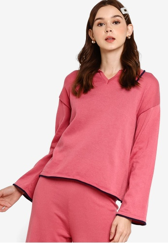 Lubna pink Contrast Edging Knit Top 958D3AA7CEF42DGS_1
