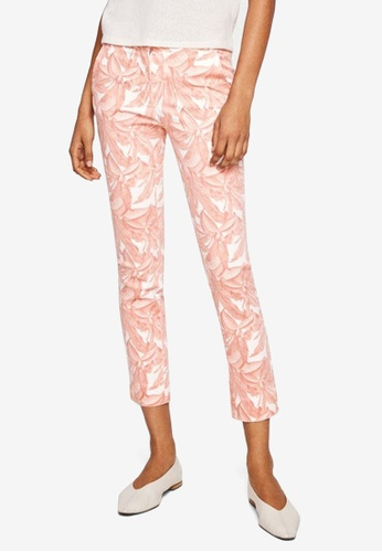Mango pink Crop Slim-Fit Trousers 95D83AADE0CFDCGS_1