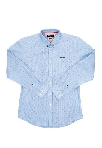 Private Stitch blue Private Stitch Signature Moustache Tiny Dot Print Shirt E6577AABC37B31GS_1