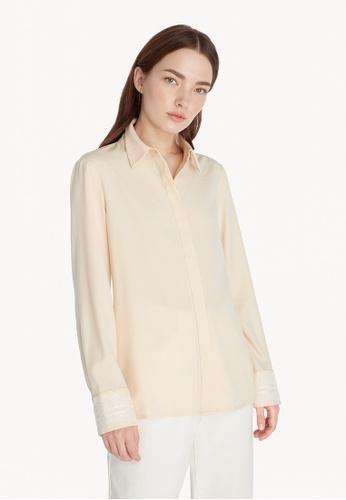 Pomelo beige Lace Accent Cuff Button Up Shirt - Cream C8ED6AA4BA103BGS_1