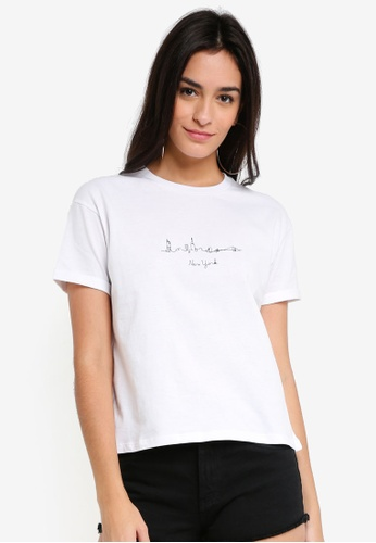 TOPSHOP white New York Skyline T-Shirt 044D9AA8260050GS_1