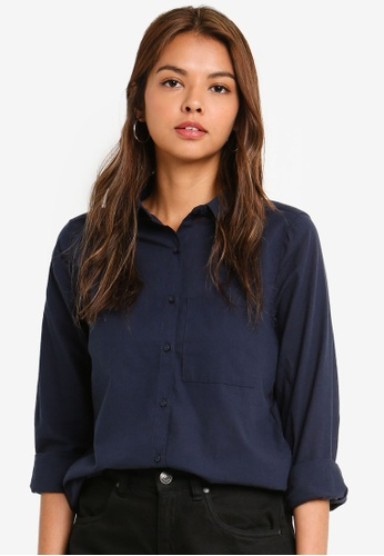 Cotton On navy Casual Steph Shirt 96CA4AAA1DB97AGS_1