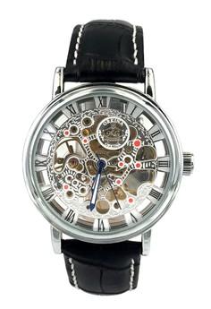 Orkina Men's Mechanical Movement Leather Strap Wrist Watch