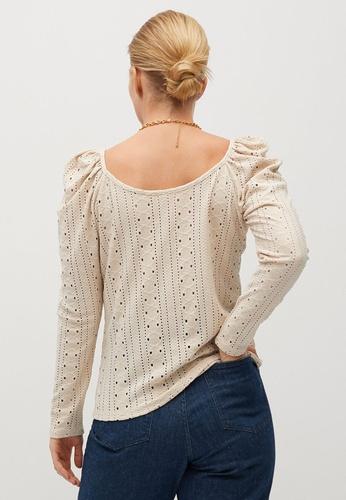 Violeta by MANGO beige Plus Size Openwork Puff Sleeve T-Shirt 0E902AA81D8B6BGS_1