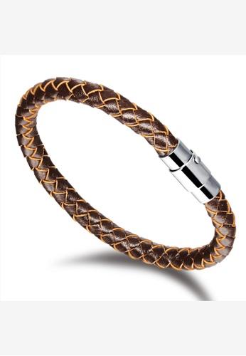 Oxhide 褐色 牛皮皮革手链编织棕色 1DD08AC758FCC2GS_1