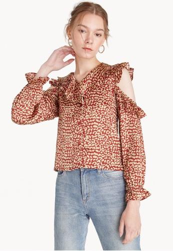 Pomelo red Ruffled Cut Out Shirt E9921AACD9E429GS_1