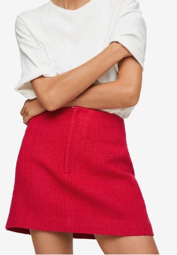 Mango red Cotton Tweed Mini Skirt AF0BBAAF8C5412GS_1