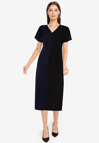 ZALORA WORK multi V Neck Colourblock Dress 51405AABB45A2AGS_1