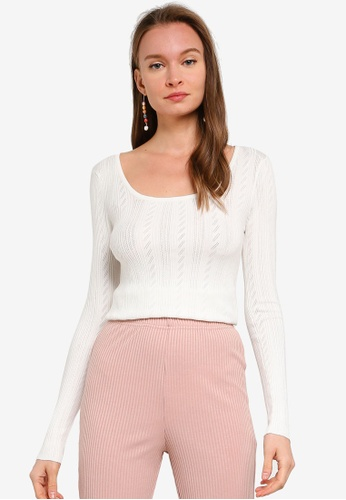 Brave Soul white Square Neck Knitted Allover Pointelle AC34CAA507F373GS_1