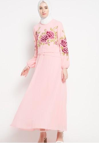 Kamilaa by Itang Yunasz pink Gamis Bordir KA273AA54FOZID_1