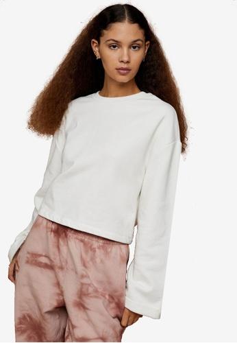 TOPSHOP white Premium Leisure Ecru Tie Back Sweatshirt 66C76AA45EDDB2GS_1