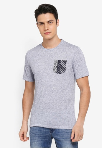 MANGO Man grey Contrast Chest-Pocket T-Shirt 59244AA74580E6GS_1