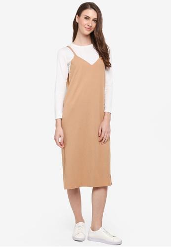 BYN brown Korean Style 2-in-1 Dress Set 6A96BAA51E925AGS_1